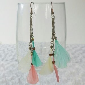 !SALE! Pastel Feather Chains Dangle Earrings